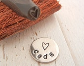 SALE - Elite Series Design Stamp - Skinny Open Heart - 5mm - Steel Stamp for Hand Stamped Jewelry Making