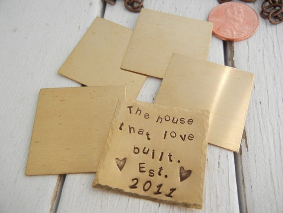 Brass Square Blanks.  1-1/16 inch (29mm) 24 gauge. Pack of 6.  Great for Mini Book Charms/Pendants.