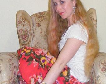 Peaches and cream floral hair garland