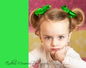 hair bows...2 toddler hairbow clips... Boutique style...great for piggy tales...bows for baby, toddler and big girls...red, green, pink