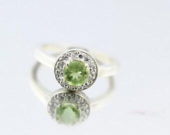 Natural Green Peridot Solid 14K White Gold Diamond Ring - Gem130