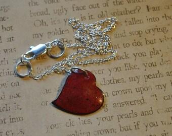 Handmade Enameled heart necklace    E503