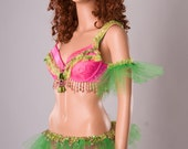 Hot Pink and Lime Green tutu Lingerie Set