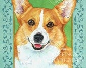 Pembroke Welsh Corgi Giclee Fine Art Dog Print, Turquoise, Green, Gold, Signed A E Ruffing, on 8.5 x 11 inch art paper