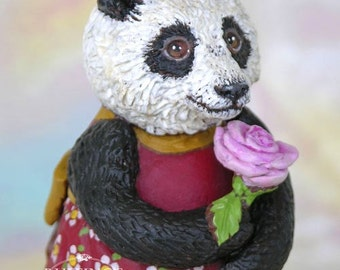 Art Doll, OOAK Original Panda Bear, Hand Painted Folk Art Figurine Sculpture, Miranda by Max Bailey, Free Shipping Within The USA