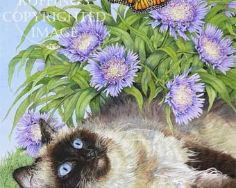 Ragdoll Cat, Monarch Butterfly, and Cornflowers Giclee Fine Art Print, Floral, Signed A E Ruffing, on 8.5 x 11 inch art paper