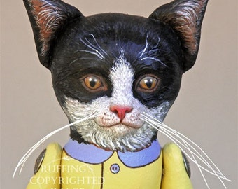 Cat Art Doll, OOAK Original Tuxedo Kitten, Hand Painted Folk Art Sculpted Doll, Ziggy by  Elizabeth Ruffing, Free Shipping Within The USA