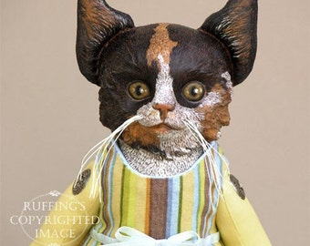 Cat Art Doll, OOAK Original Calico Kitten, Hand Painted Folk Art Sculpted Doll, Fiona by Elizabeth Ruffing, Free Shipping Within The USA