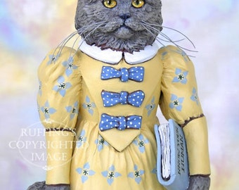 Cat Art Doll, OOAK Original Blue Persian, Hand Painted Folk Art Figurine Sculpture, Hyacinth by Max Bailey, Free Shipping Within The USA
