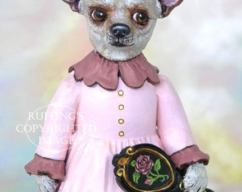 Art Doll, OOAK Original Chihuahua Dog, Hand Painted Folk Art Figurine Sculpture, Trina by Max Bailey, Free Shipping Within The USA