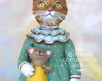Art Doll, OOAK Original Ginger Tabby Cat with Teddy Bear, Hand Painted Folk Art Figurine Sculpture, Suzannah by Max Bailey