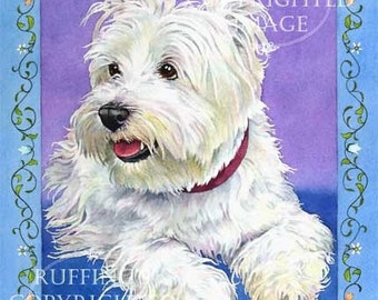 Westie on Blue 8.5 x 11 Giclee Fine Art Dog Print Signed A E Ruffing