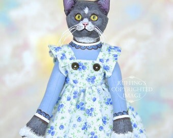 Art Doll, OOAK Original Gray and White Cat, Hand Painted Folk Art Doll, Ida by Max Bailey, Free Shipping Within The USA