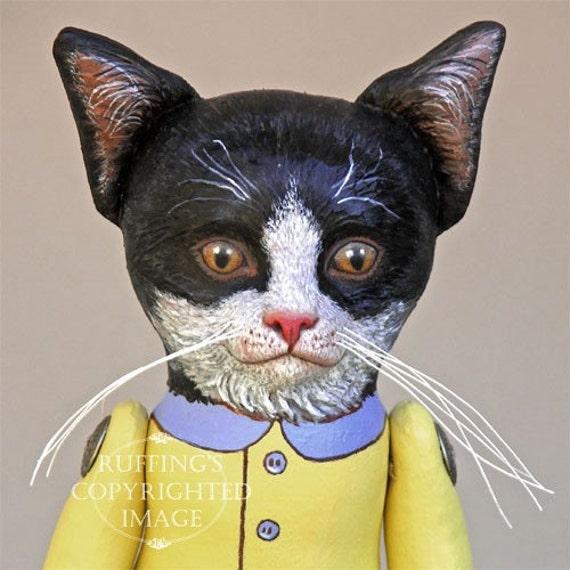 Cat Art Doll, OOAK Original Tuxedo Kitten, Hand Painted Folk Art Sculpted Doll, Ziggy by  Elizabeth Ruffing, Free Shipping Within The USA