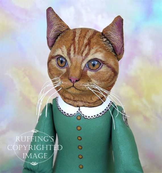 Art Doll, OOAK Original Ginger Tabby Cat, Hand Painted Folk Art Sculpted Cat, Emily and Edwin by Max Bailey and Elizabeth Ruffing