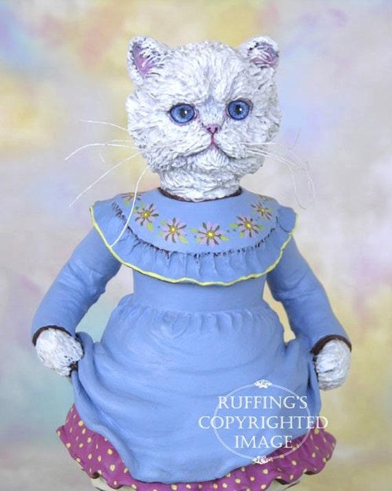 Cat Art Doll, OOAK Original White Persian Kitten, Hand Painted Folk Art Figurine Sculpture, Floradora by Max Bailey