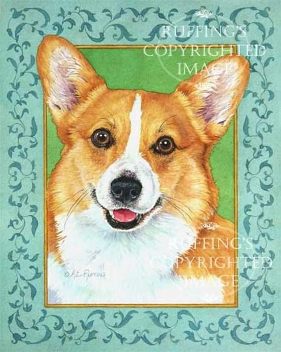 Pembroke Welsh Corgi Giclee Fine Art Dog Print, Turquoise, Green, Gold, Signed A E Ruffing, on 8.5 x 11 inch art paper