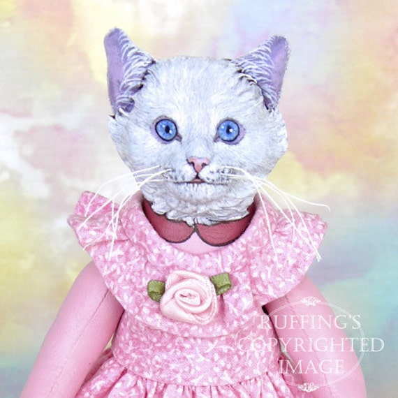 Art Doll, OOAK Original White Cat, Hand Painted Folk Art Figurine Sculpture, Lillie by Max Bailey, Free Shipping Within The USA