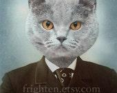 Cat Art Print, Animal in Clothes, Cat in Suit, 8x10 Print, Anthropomorphic Art, Collage Art, Gray Cat Art