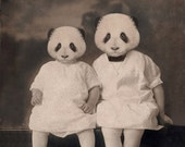Panda Art Print, Mixed Media Collage Print, Altered Vintage Photograph of Sisters, Nursery Decor