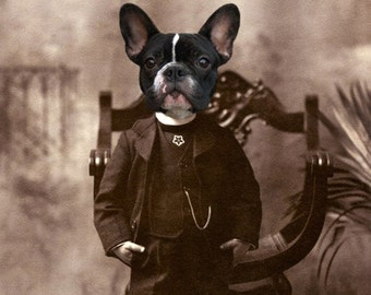 French Bulldog Art, 5x7 Print, Victorian Boy, Anthropomorphic, Animal in Clothes, Dog in Suit, Dog in Clothes