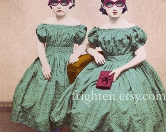 Mixed Media Collage Art Print, Whimsical Altered Portrait Photography of Victorian Sisters 5x7, 8x10 Prints