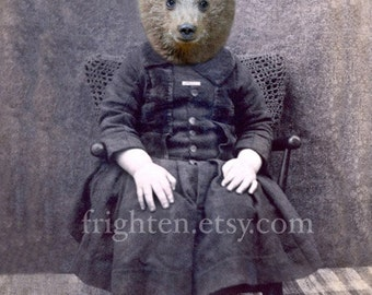 Brown Bear Art, Anthropomorphic Art, Victorian Boy, Altered Art, 8 x 10 Inch Print, Mixed Media Collage
