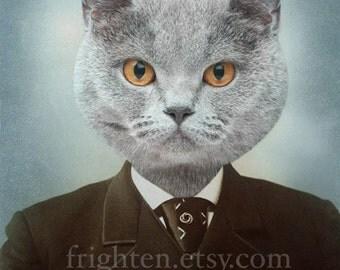 Cat Art Print, Animal in Clothes, Cat in Suit, 8x10 Print, 5x7 Print,  Anthropomorphic Art, Collage Art, Gray Cat Art
