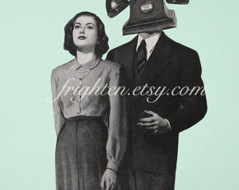 Surreal Art Paper Collage Print 8x10 Inch Mint and Black Man with Telephone Head Retro Wall Decor