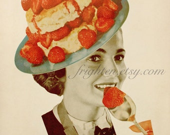 Whimsical Food Art Print, Paper Collage, Strawberries, 8.5 x 11 Inch Retro Kitchen Decor