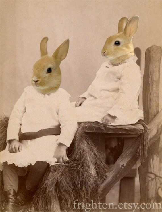 Sister Rabbits in Dresses Animals in Clothes Mixed Media Collage 5x7 Art Print