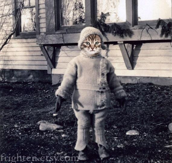 Cat Art Print, Kitten's Mittens, Cute Cat Art, Collage Art, Tabby Cat in Snow Suit Wearing Mittens