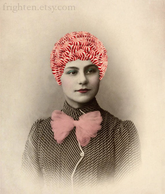 Peppermint Girl, Red and White Christmas Decor, Altered Antique Portrait Print