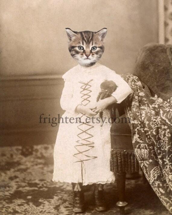 Animal in Clothes, Cat in Dress, Cat Art Print, Anthropomorphic, 5x7 Print, Cute Cat Art, Tabby Cat, Kitten Art, Small Wall Art