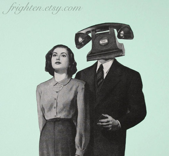 Retro Collage Print, Mint and Black Art, Mid Century Modern, 8x10 Print, Telephone Art, Surreal Art
