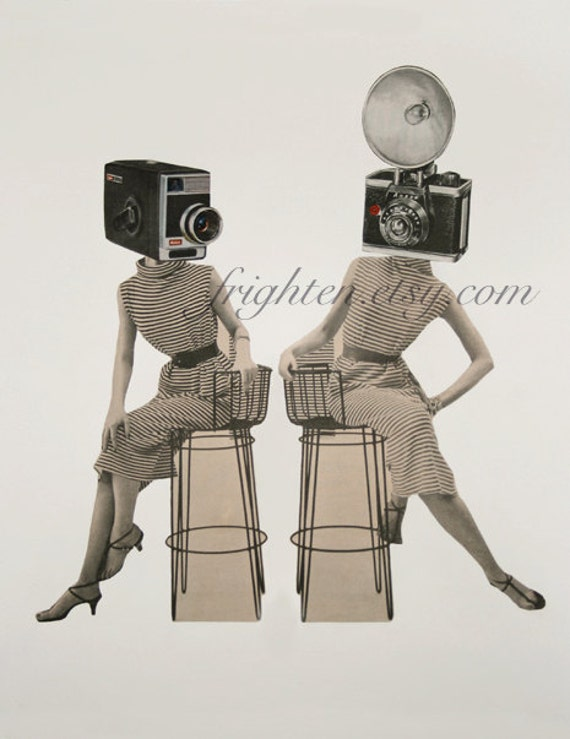 Surreal Art Paper Collage Print of Two Women with Vintage Camera Heads Unusual Retro Art 8.5 x 11 Inch Print