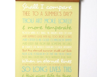 Shakespeare Sonnet 18 Poster - Poetry Typography Poster - Shall I compare thee to a summers day - Romantic Love Poem Poster - Free Shipping