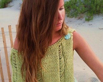 KNITTING PATTERN,knit shawl,womens knit poncho,women,teens,beach cover up,swim,one shoulder,green,turquoise,hand knit,gift for her,easy to k