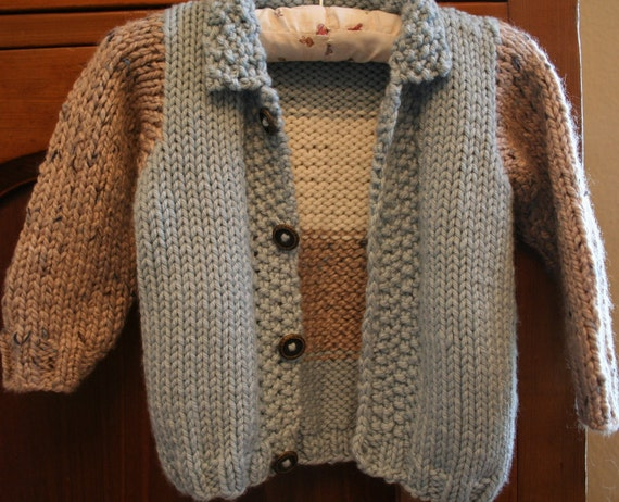 Knitting Pattern For Childs Chunky Cardigan : KNITTING PATTERN,boys knit cardigan,baby boys,toddler,color blocked,knit jump...