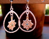 Wheel of Life sterling silver loops with Coral or Turquoise Earrings/Bohemian Earrings/Nepalese/Tibetan Buddhist/Mediation/Coral Earrings