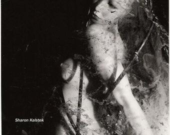 Nude Female Art Photograph Sensual Dreamy Goth Art Surreal Dark Art 8x8 black and white wall decor