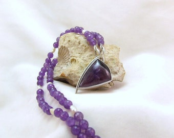 ON SALE!!!  Amethyst Pendant  Necklace, Purple, Freshwater Pearls Silver Beads Faceted Elegant Gift Classic  Ready to Ship
