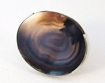 Agate Statement Ring, Silver, Handmade, OOAK, size 7 3/4  (18mm), Black, Grey, Natural Look, Ready to Ship