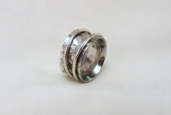 Reserved for M.- Spinner Ring, Silver, lace print, size 6 3/4  (17mm) unique handmade gift, ready to ship