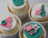 Fondant Wedding Cake, Monogram and Flower Bouquet Toppers for Decorating Engagement or Wedding Cupcakes
