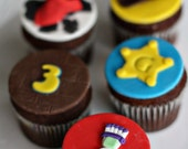 Fondant Toy, Sheriff, Cowboy, and More Toppers for Cupcakes, Cookies or other Treats