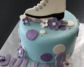 Fondant Ice Skate Cake Topper, with Polka Dots, Flowers, Name and Age Decorations for a Special Birthday Cake