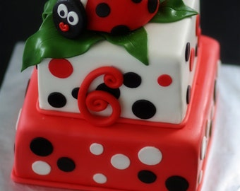 Ladybug Fondant Ladybug Cake Topper and Matching Polka Dot and Age Cake Decorations Perfect for a Ladybug Party
