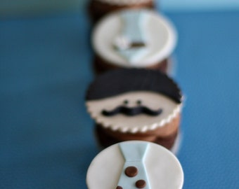Mustache Moustache Men and Tie Fondant Toppers for Decorating Cupcakes, Cookies or other Sweet Treats