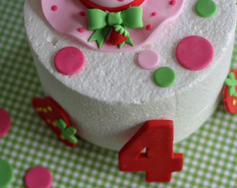 Fondant Strawberry Hat, Strawberries, Polka Dots and Age Decorations for Decorating a Birthday Cake